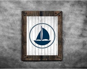 Sailboat Art, Nautical Art Print, Sail Boat Print, Nautical Rope, Faux Wood, Printable Wall Art, Rustic Nautical Decor, Beach House Decor