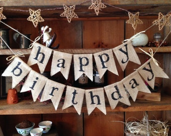 Happy Birthday Banner, Birthday Bunting, Happy Birthday Garland, Burlap Banner, Birthday Garland, Birthday Banner, Burlap Bunting