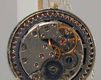 Steampunk Vintage Watch Movement Pendant with Chain OOAK #8