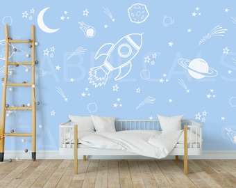 Boy Room Decor, Space Wall Decals, Space Ship Decal, Outer Space Decal, Space Wall Mural, Planet Decal, Space Wall Sticker, Rocket decal 288