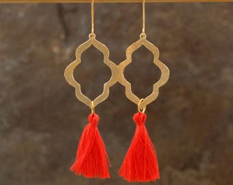 Tassel Earrings, Moroccan Earrings, Blush Earrings, Tassle Earrings, Global Inspired Earrings, CoralTassel Earrings, Geometric Earrings