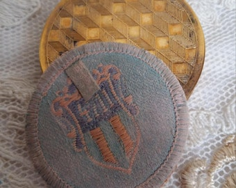 Vintage Brass Compact from 4711 Eau De Cologne, Woven Powder Puff, from the range Naturelle, Germany 1930s