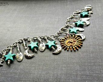 The sun  moon and stars charm bracelet//celestial charm bracelet//silver charm bracelet//old fashioned charm bracelet