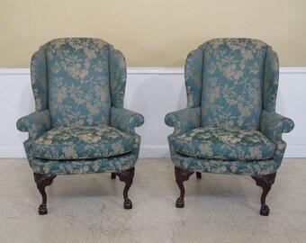 45227EC: Pair CENTURY Ball & Claw Mahogany Wing Back Chairs