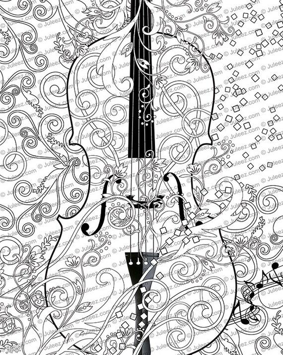 Druckbare Poster Färbung Malvorlagen Erwachsene frei Violine
