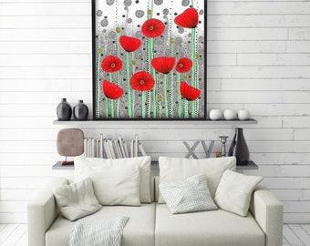 "Original Drawing - Poppy Field - 8.5x12"" up to 24x34"" Art Print, Wall Decor, Illustration"