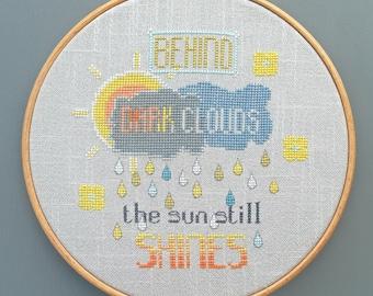 Behind Dark Clouds - PDF Cross stitch chart / pattern - Instant download.