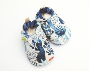 Organic Vegan Blue Cacti Garden/ All Fabric Soft Sole Shoes / Made to Order / Babies