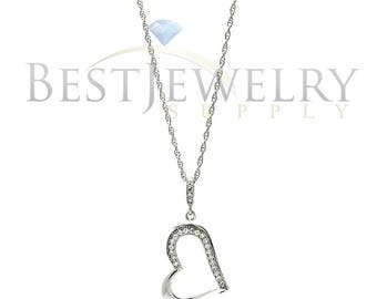 Sterling Silver .925 Rhodium Plated Clear CZ Heart Pendant Necklace