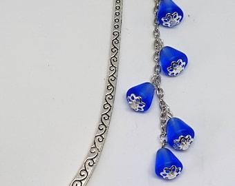 Metal handmade bookmark with dark blue Czech glass bells and bluebell flowers