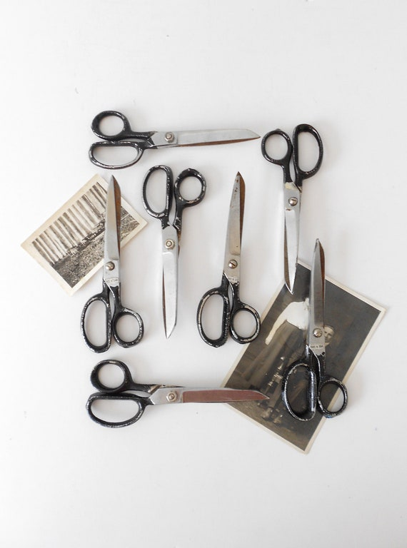 old 1960s industrial school office scissors // single pair