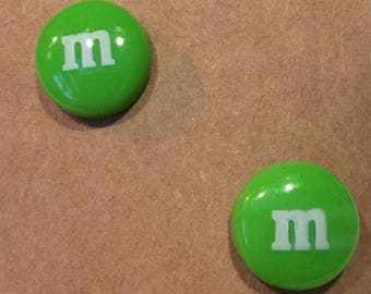 M&M earrings they won't melt in your ears!  Nickel free posts.