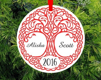 Our First Christmas Ornament - Celtic Tree Of Life - Personalized Porcelain Newlywed Holiday Ornament - Just Married - Lovebirdslane