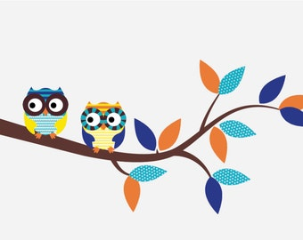Kids tree branch decal - removable vinyl wall decal - owl decals - wall decals