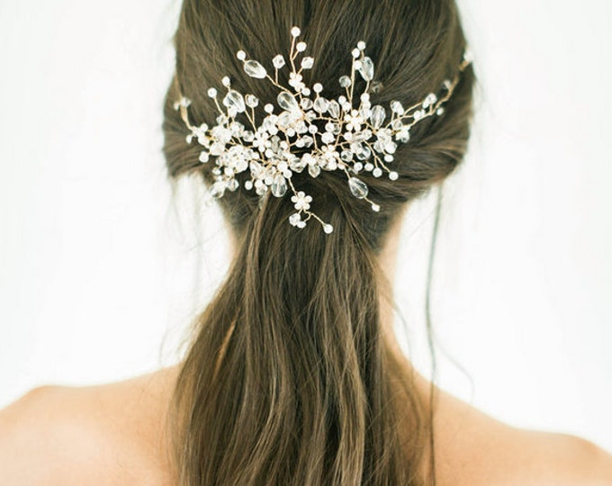 Gold crystal Bridal Headpiece, Wedding Hair Vine, Bridal Hair Piece, Silver Crystal beaded head piece, Gold Wedding Hair Accessories