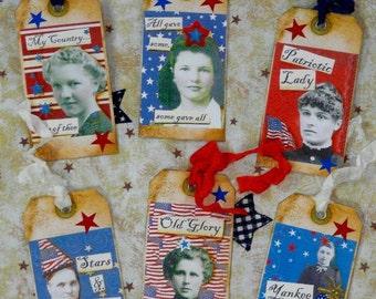 Lovely Ladies Patriotic Americana Tags PDF - america scrapbooking digital blonde paper
