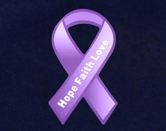 Wholesale Small Hope Purple Ribbon Magnets (24 Magnets) (MAGS-4H)