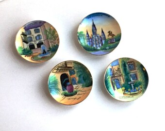 New Orleans LA, Souvenir Plates, Set of Four, NOLA, Hand Painted, Court Two Sisters, French Quarter, St. Louis Cathedral, 1970s Collectible