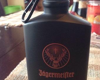 Jägermeister flask with clip