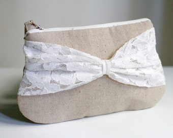 bridesmaid clutch - linen and bow lace clutch - zippered clutch - rustic wedding