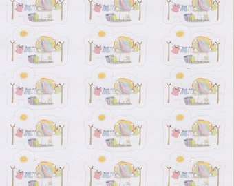 Washing Rainbow Unicorn | 053 | Planner Stickers | Kikki-K | Happy Planner | Erin Condren