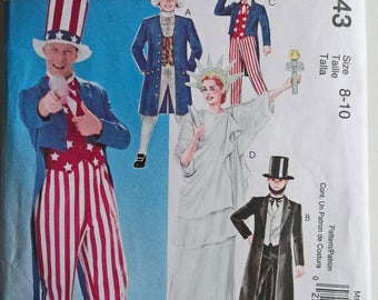 George Washington, Uncle Sam, Abraham Lincoln, Liberty Statue, Historical Hat, Patriotic Coat, Costume Sewing Pattern, Boy Suit, Girl Gown