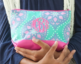 Marlee Accessory Bag~Preppy Monogrammed Cosmetic Bag~Medallion Travel Pouch~Personalized Make Up Bag~ Accessory Bag