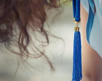 Blue Tassel Necklace, Blue Tassel, Blue Necklace, Tassel Necklace, Blue Cord Necklace, Color Block Necklace, Long Boho Necklace