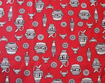 """Red Egyptian Pottery Design Print Cotton Fabric - 40"""" x 34"""""""
