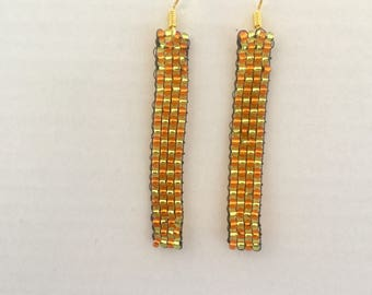 Geometric neon orange and lime green sparkly dangle beaded earrings