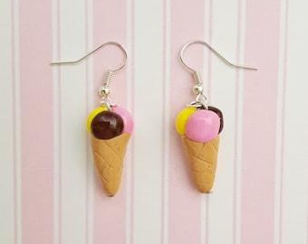 Neapolitan Ice cream Cone Earrings