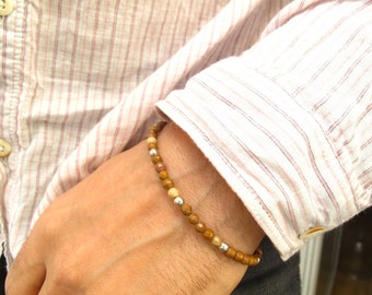 Jasper beads 925 sterling silver bracelet , silver beads and jasper gemstone handmade bracelet