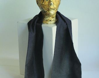Vintage Trevira Shawl Opera Scarf Vintage Mens Neck Steel Grey small dots Western Germany Wool