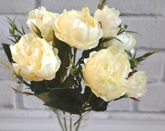 Ivory peony Bouquet of peonies Artificial flower Cream flowers Wedding bouquet Home decoration Cream bouquet Flowers arrangement Silk flower