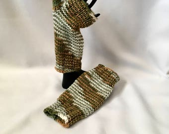 Arm Warmers Wrist Warmers - green gold white knitted arm warmers