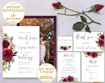 Wedding Invitation Template SET Editable with picture Fall Marsala Burgundy Red Pearl Wedding Invitation Instant Download, Printable