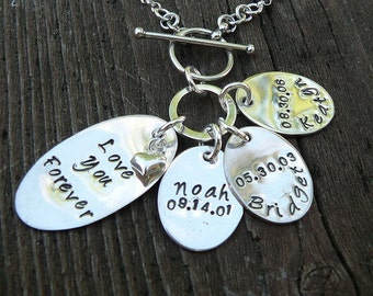 Love You Forever - Custom Sterling Silver Hand Stamped Mothers Necklace - Front Toggle Your Names, Font Choice, Number of Discs 1-6 Children