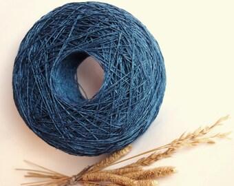 Dark Blue Color Linen Yarn, #071 High Quality, Linen Yarn For Crochet, Knitting, 100 g/3,5 oz