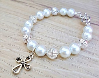White First Communion Beaded Bracelet, 1st Communion Gift, Communion Bracelet, Cross Bracelet, Pearl Bracelet, Baptism Jewelry, Communion