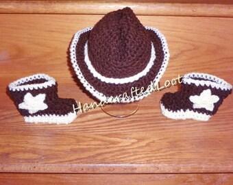 Crochet Newborn Baby Cowboy Hat & Boots Photo Prop Set Outfit Shower Gift and Keepsake 0-3 Months