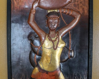 African Copper Art The Water Lady