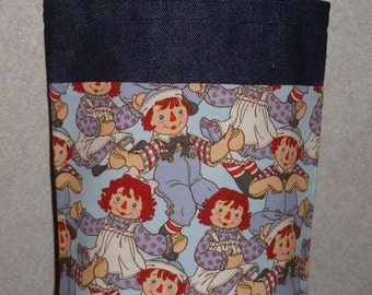 New Small Denim Tote Bag Handmade with Raggedy Ann Andy Blue Fabric