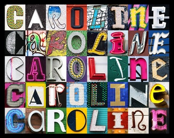 Personalized Poster featuring CAROLINE showcased in photos of letters from signs; Typography print; Wall decor; Custom wall art; Name poster