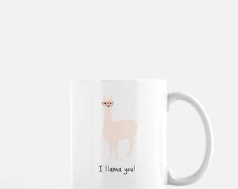 Personalized Llama Mug, Llama Coffee Mug, Llama Mug, Alpaca Mug, Llama with Glasses Mug, Alpaca Cup, Llama Gift, I Llama You Mug (Light)