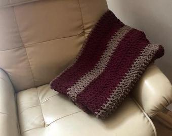 RTS Baby Boy  Crocheted Baby Blanket Burgundy, Tan Suede Cozy