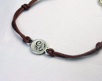 Ohm Charm Bracelet. Yoga Lover Bracelet. Ohm Symbol Cord Bracelet. SCC559