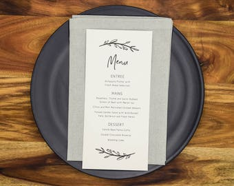 Wedding Menu Cards Personalised Menus Wedding Reception Menus Wreath (WHITE)