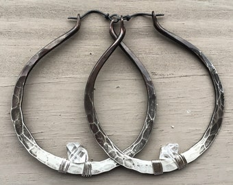 Sterling Silver Hoop Earrings Large Hoops Silver Hoop Earrings Crystal Earrings DanielleRoseBean Custom Hoop Earrings witch jewelry