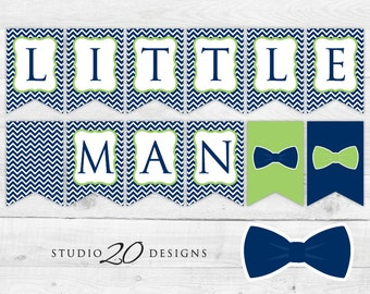 Instant Download Bow Tie Baby Shower Banner, Navy Green Little Man Bunting Banner, Bowtie Pendent Banner, Chevron Baby Shower Banner 79A
