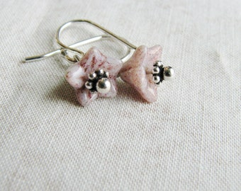 Bead Flower Earrings Silver Pink Czech Glass Beads Small Dangles Delicate Minimalist Botanical Nature Inspired Naturalist Garden Lover Gift